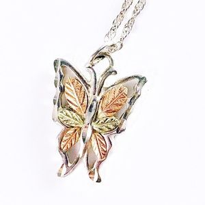 Sterling silver and 12K gold butterfly necklace